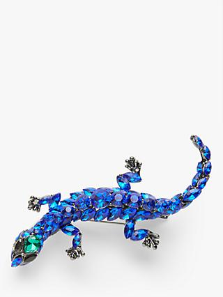 One Button Diamante Lizard Brooch, Blue
