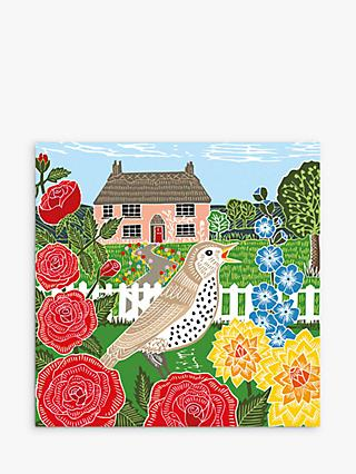 Art File Thrush & Cottage Blank Greeting Card
