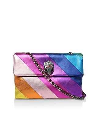Kurt Geiger London Kensington Large Rainbow Leather Shoulder Bag, Multi