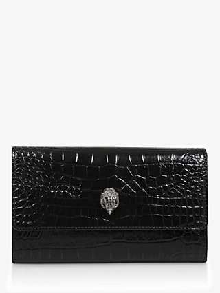 Kurt Geiger London Kensington Croc Leather Wallet Clutch Bag, Black