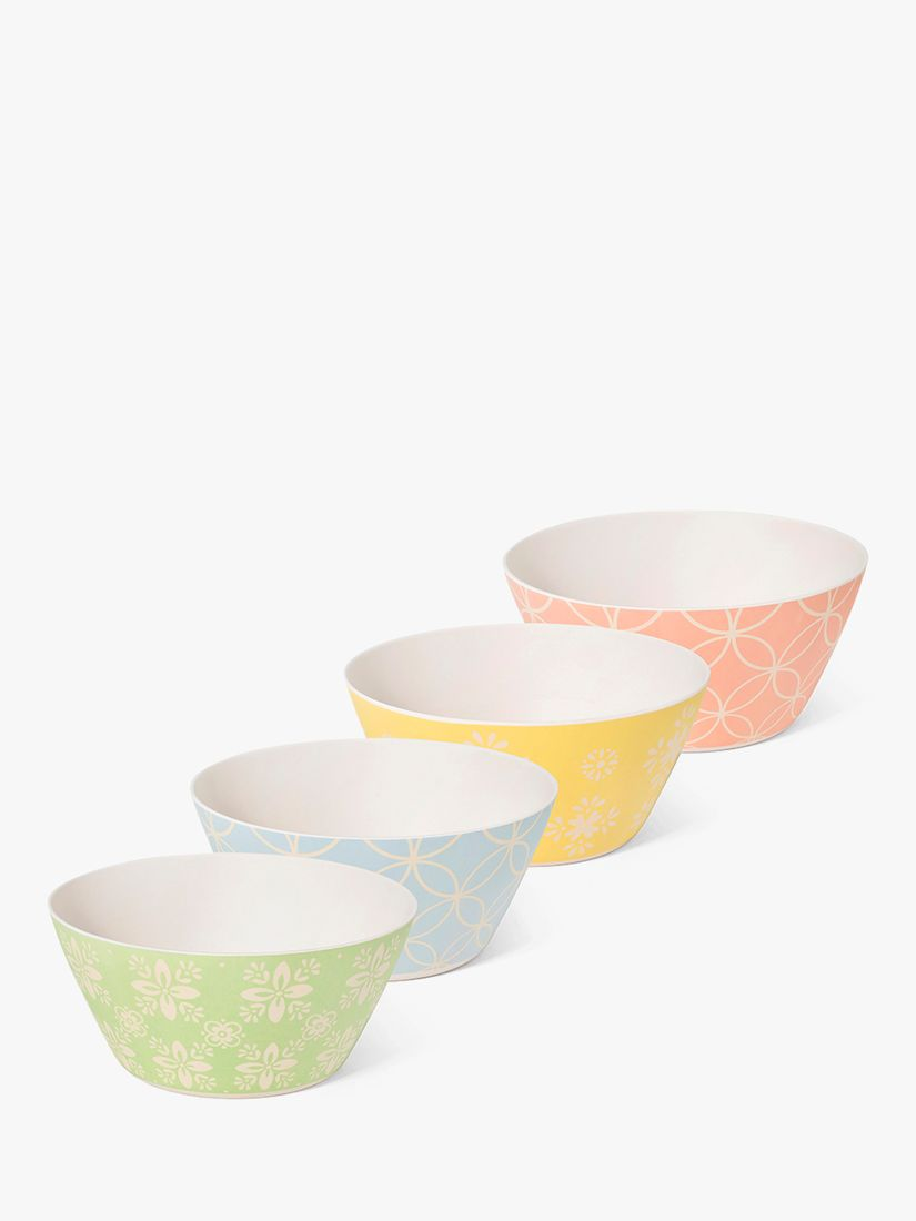 BlissHome Nadiya Hussain Bamboo Picnic Bowls, Set of 4, 15cm, Assorted