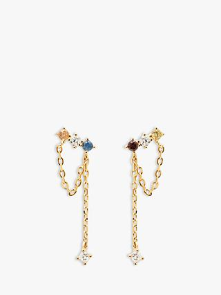 PDPAOLA Mana Cubic Zirconia Chain Drop Earrings, Gold/Multi