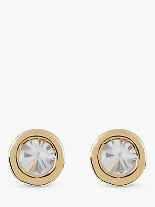 Emily Mortimer Jewellery Disco Round Topaz Stud Earrings, Yellow Gold