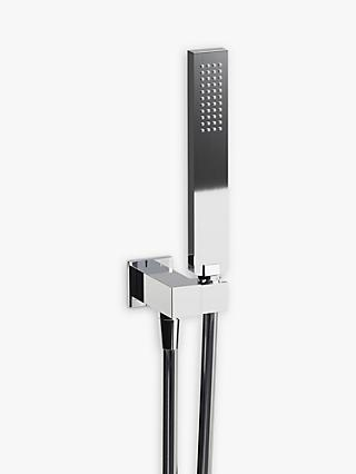 Abode Wall-Mounted Square Hand Shower Outlet & Bracket, Chrome