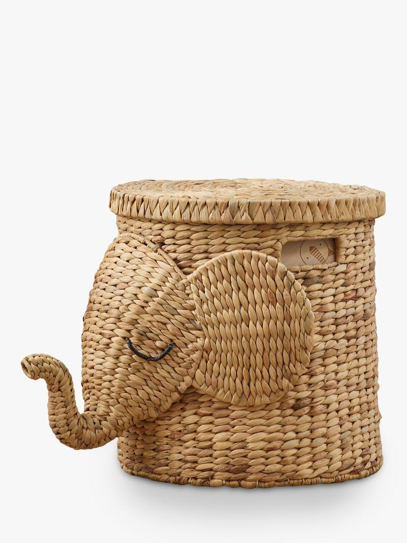 Pottery Barn Kids Elephant Rattan Storage Basket, Neutral