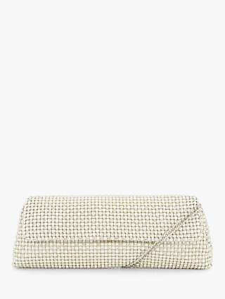 Dune Belonging Diamante Clutch Bag, White/Ivory