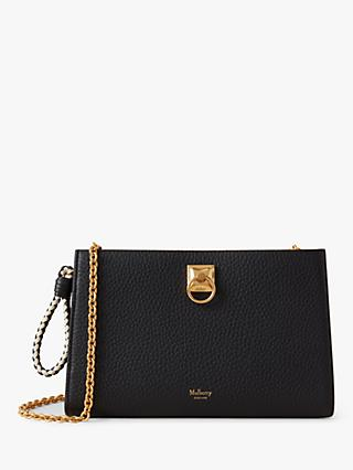 Mulberry Iris Heavy Grain Leather Wallet On Chain, Black