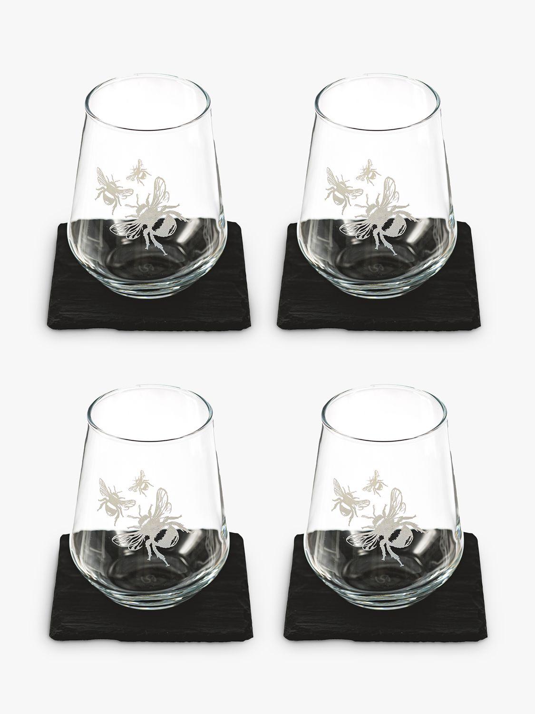 The Just Slate Company Bee Glass Tumbler & Slate Coaster, Set of 4, Black/Clear