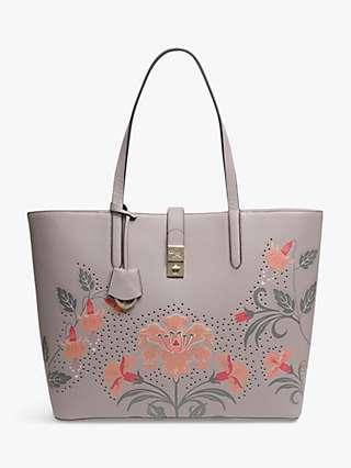 Radley Grange Lane Floral Leather Tote Bag, Brown