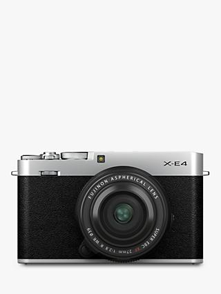 "Fujifilm X-E4 Compact System Camera with XF 27mm Lens, 4K Ultra HD, 26.1MP, Wi-Fi, Bluetooth, OLED EVF, 3"" LCD Tilting Touch Screen"