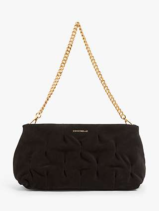 Coccinelle Ophelie Goodie Suede Leather Clutch Bag, Noir