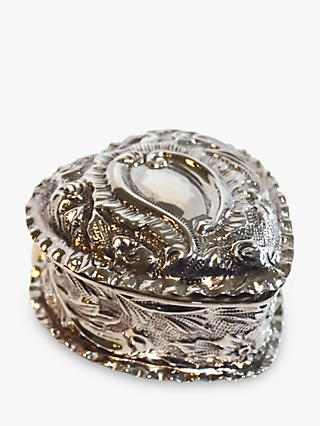 VF Jewellery Embossed Heart Shaped Second Hand Silver Trinket Box, Dated Birmingham 1898