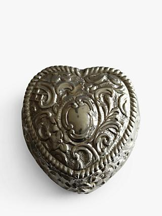 VF Jewellery Embossed Heart Shaped Second Hand Silver Trinket Box, Dated Birmingham 1895