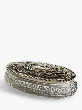 VF Jewellery Embossed Second Hand Silver and Glass Dressing Table Jar, Dated Birmingham 1902