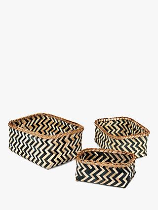 Compactor Zebra Bamboo Storage Baskets, Set of 3
