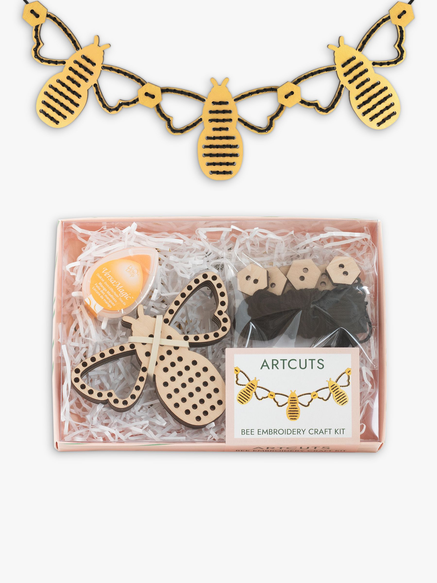 Artcuts Wooden Bee Embroidery Bunting Craft Kit