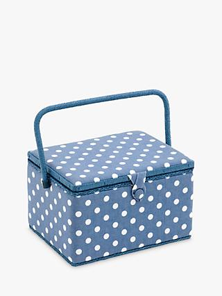 Groves Den Dot Sewing Basket, Blue/White