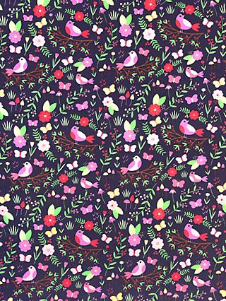 Visage Textiles Floral Bird Print Fabric, 2m, Purple