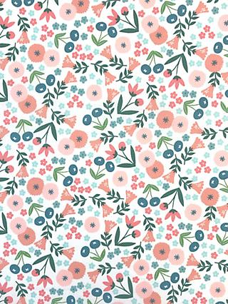 Visage Textiles Spring Flowers Print Fabric, 2m, White