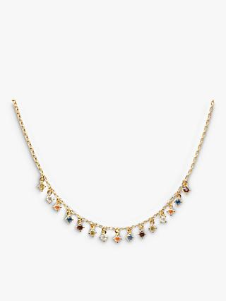 PDPAOLA Cubic Zirconia Charm Drop Chain Necklace, Gold/Multi