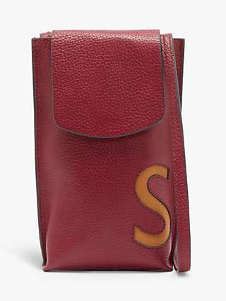 John Lewis & Partners Alphabet Leather Phone Pouch Cross Body Bag