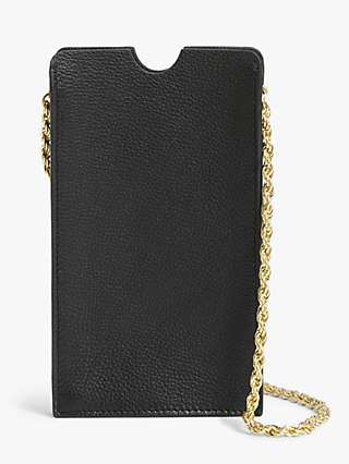 John Lewis & Partners Chain Leather Phone Pouch Cross Body Bag, Black