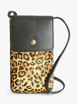 AND/OR Leopard Print Leather Phone Cross Body Bag, Multi