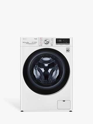 LG F4V709WTSE Freestanding Washing Machine, 9kg Load, 1400rpm Spin, White