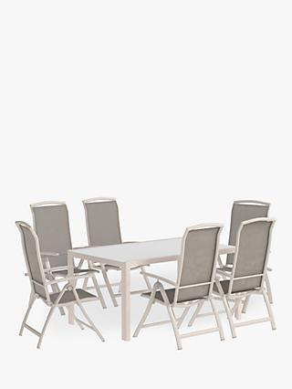 John Lewis & Partners Miami Ceramic-Effect Glass Top 6-Seat Garden Dining Table & Chairs Set, Putty