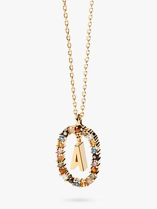 PDPAOLA Alphabet Initial Crystal Pendant Necklace, Gold/Multi