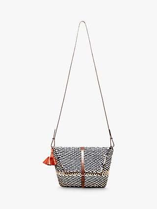 A A K S Sinsi Raffia Cross Body Bag, Navy/Multi