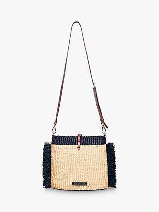 A A K S Hana Raffia Cross Body Bag, Navy/Multi