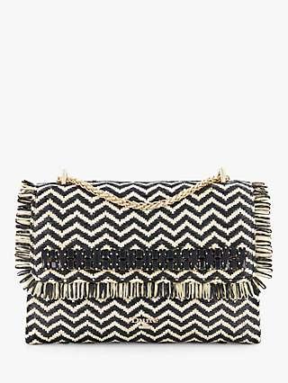 Dune Balmy Striped Raffia Trim Clutch Bag, Black