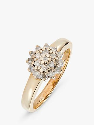 L & T Heirlooms 9ct Yellow Gold Second Hand Cluster Diamond Ring