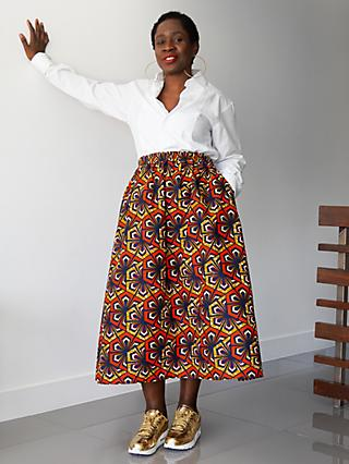 Kemi Telford Geometric Two Panel Midi Skirt, Orange/Gold