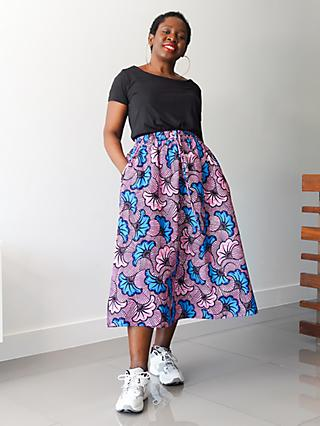 Kemi Telford Floral Two Panel Drawstring Midi Skirt, Pink/Blue