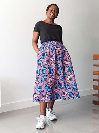 Kemi Telford Floral Two Panel Drawstring Midi Skirt, Pink/Blue