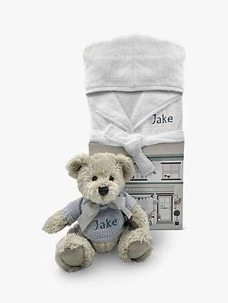 Babyblooms Personalised Berkeley Bear and Bathrobe Hamper, Blue