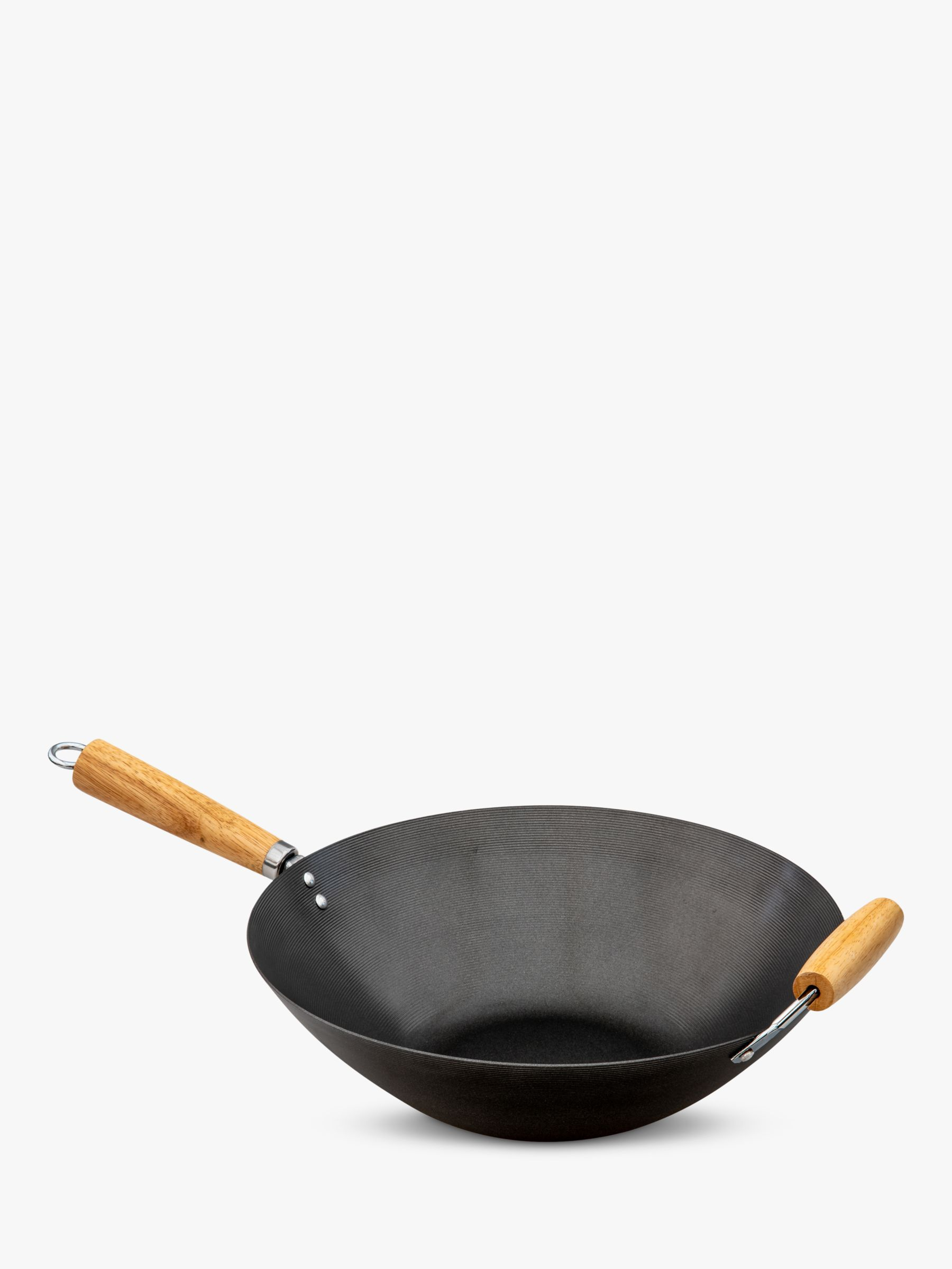 LG Outdoor GrillStream Gourmet BBQ Carbon Steel Non-Stick Wok with Bamboo Handles