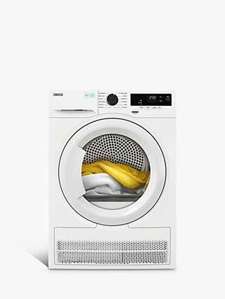 Zanussi ZDH87A2PW Freestanding Heat Pump Tumble Dryer, 8kg Load, White