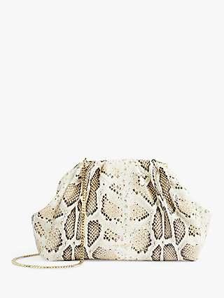 Ted Baker Bibeei Snake-Look Gathered Leather Clutch Bag, Grey