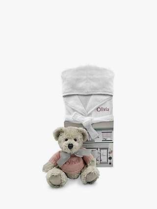 Babyblooms Personalised Berkeley Bear and Bathrobe Hamper, Pink