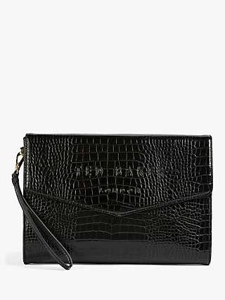 Ted Baker Crocey Croc Leather Envelope Clutch Bag