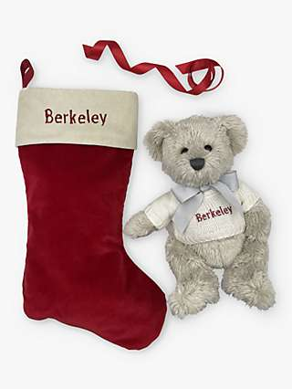 Babyblooms Personalised Berkeley Bear Soft Toy with Stocking Gift Box