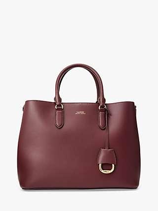 Lauren Ralph Lauren Marcey Leather Bag, Bordeaux/Field Brown
