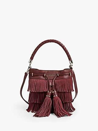 Ted Baker Paralee Leather Fringe Bag, Dark Purple
