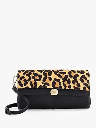 Dune Elline Leopard Print Clutch Bag, Multi