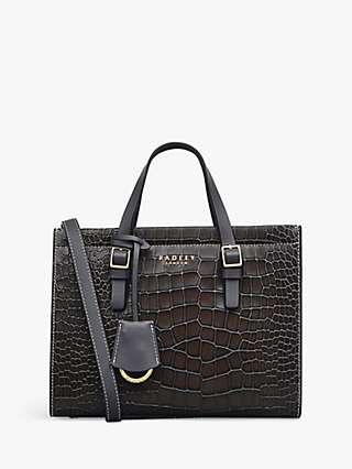 Radley Tudor Close Medium Croc Print Leather Grab Bag, Thunder Grey