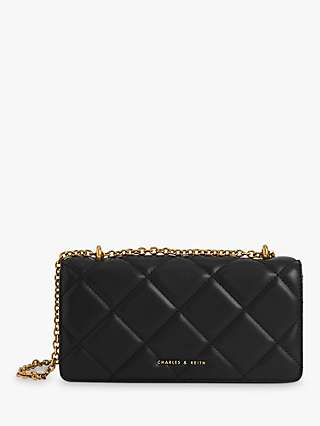 CHARLES & KEITH Quilted Chain Handle Wallet Micro Bag