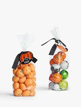 Sweet Me Keep Me Halloween Pumpkin Marshmallows Bag and Milk Chocolate Figures Bundle